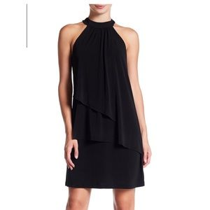 Vince Camuto black tiered sleeveless knit dress